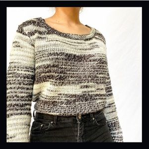 H&M Knitted Scoop Neck Sweater Black White Grey.